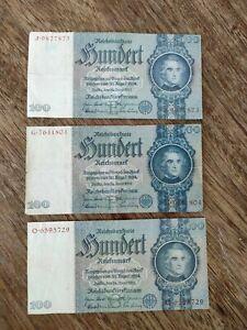 Lot 3 Billets, Allemagne, 100 Reichsmark, 1935-06-24
