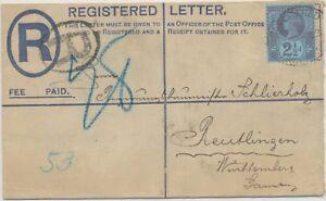 GB 1893 QV 2D 2 different provisional postal stationery registered envelopes VFU