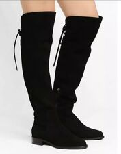 Aquatalia Nicki Black Suede Leather Boots Size 11 OVER THE KNEE RIDING Boots