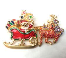 Butler & Wilson Kristall Emaille Weihnachtsmann auf Schlitten Brosche Neu