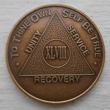 AA New Bronze Alcoholics Anonymous 48 year coin medallion