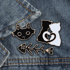 Honesty Black Cat Moon Enamel Pin Gold Silver Cat Badge Brooch Lapel Pin Denim Shirt Bag Collar Punk Fun Animal Jewelry Gift For Friends Jewelry & Accessories Brooches