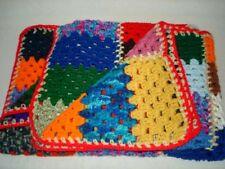 "Vintage Handmade Crochet Afghan Blanket Throw Bright Multi-Color 50 x 35"" Euc"