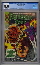 FANTASTIC FOUR #78 CGC 8.0 WIZARD APP WHITE PAGES