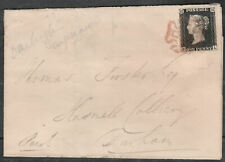 1840 SG2 1d BLACK PLATE 4 RED CROSS 4 MARGINS DARLINGTON TO DURHAM COVER (BL)