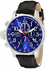 Reloj Invicta Silver Man Watch Hombre Crystal Canvas Leather Band Left Hand