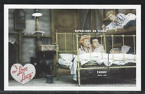 """1999 Chad Scott #814 - 2000fr """"I Love Lucy"""" Souvenir Sheet - Ricky and Lucy"""