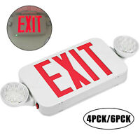 4/6 Pack Exit Signs LED Emergency Light W/ Dual Lamp Beads SMD2835 Hospital
