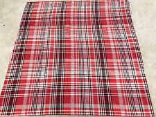 Tartan check red grey wine cotton flannelette remnant craft material 95x95cm