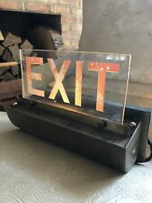 Antique Lighted Theater Exit Sign Architectural Brass Chicago Electric #1 of 3