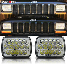 "7X6 5x7"" Pair Projector LED Headlights Hi/Low Lamp Bulb For Jeep Cherokee XJ YJ"