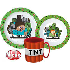 Minecraft TNT Geschirr Set Teller Müslischale Becher 3Teile Kinder grün-rot