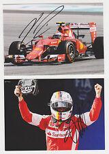 2 Cards Vettel & Raikkonen Hand Signed Autographs Ferrari F1 Scuderia Autogramme