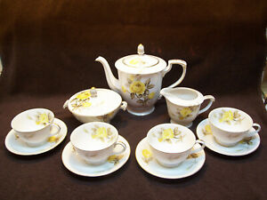 VINTAGE SANGO CHINA COTILLION YELLOW ROSE  TEA SET   MADE IN JAPAN
