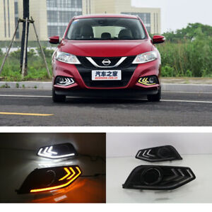 LED DRL Daytime Running Lights Yellow Turn Signal Lamp For Nissan Tiida 2016-17
