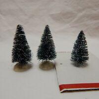 LEMAX FLOCKED BOTTLE BRUSH TREES 2 1/2'' TALL (SET OF THREE)