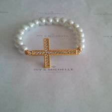 Glass Pearl White Beaded  Bracelet With Gold Tone Cross Connector