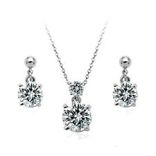 18K WHITE GOLD PLATED & GENUINE CZ AND AUSTRIAN CRYSTAL NECKLACE & EARRING SET