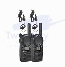 2 Motorola CLS1110 UHF Two Way Radio Walkie Talkies & PTT Earpieces 1 Watt Radio