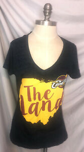 5th & Ocean Womans Cleveland Cavaliers Med V Neck Tshirt Navy The Land S Sleeve