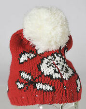 Betsey Johnson Pom Knit Ski Hat Cap Red White Black NEW BJ18429
