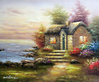 Beach House Sunset Cozy Rock Cabin English 20X24 Oil Painting STRETCHED CANVAS