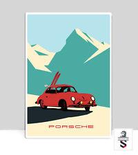 "Porsche 356 In The Alps. Porsche Poster Garage Aluminum poster 36"" x 24"""