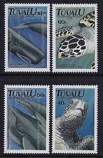 1991 TUVALU MARINE LIFE: WHALES & TURTLES SET OF 4 FINE MINT MNH/MUH