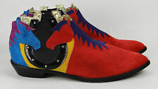Vintage ZALO Suede Leather Cowboy Western Ankle Boots Heels 8.5 M ~ Red Horses
