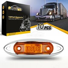 Pack of 10 Amber 3 Led Clearance Side Marker Trailer Van Light Fish Shape 12V