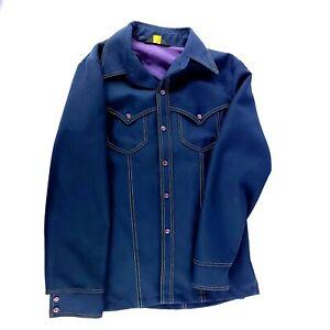 Vintage Wrangler Men's Dark Blue Purple Lined Pearl Snap Button Up Jacket Med