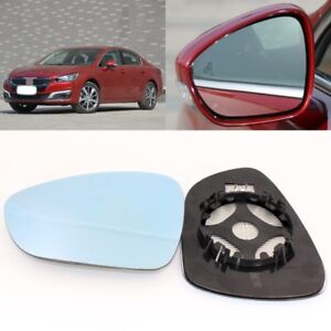 For Peugeot 508 2011-2017 Side View Door Mirror Blue Glass With Base Heated 2pcs