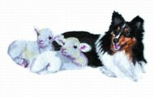 Large Embroidered Zippered Tote - Shetland Sheepdog with Lambs Bt4439