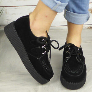 Ladies Creepers Trainers Womens Platform Goth Punk Pumps Lace Up Flat Shoes Size