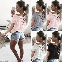 Womens Short Sleeve T-Shirt Tops Criss Cross Summer Casual Tee Blouse T Shirts