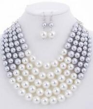 Adjustable 5 Layer Silver and White Pearl Necklace with Earrings
