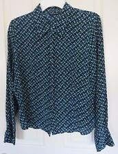 WILLI SMITH Women Blue Green Long Sleeves SILK Blouse Shirt Top Size 12