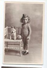 BP260 Carte Photo vintage card RPPC Enfant avec chien jouet ancien jeune fille