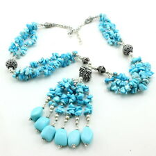 Necklace natural blue turquoise gemstone beaded chips handmade charming 95 gram