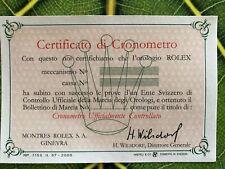 Rolex garanzia certificato cronometria COSC in italiano stampato nel 1957