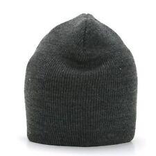 CHARCOAL GREY SHORT BEANIE CAP SKI SKULL CAPS HAT HATS TOQUE