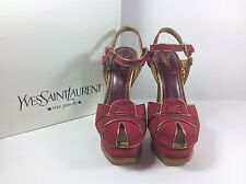 Yves Saint Laurent Tribute 105 Kid Scamosciato, Rouge Red Sandal Pumps Size 39
