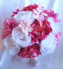 Wedding Bouquet Bridal Bouquets Silk flower FUCHSIA PINK WHITE 17 pcs package