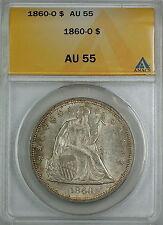 1860-O Seated Liberty Silver Dollar, ANACS AU-55, Beautiful Original Luster, AKR