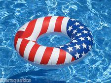 AMERICANA Swim RING FLOAT USA Patriotic Inflatable Swim POOL Lounge Vinyl 90196