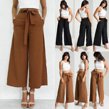 UK New Womens Casual OL Business High Waist Wide Leg Pants Ladies Long Trousers