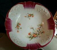 Vintage Large Porcelain Bowl W Floral Design Made In Europe