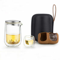 SAMA L005 Teiera doppia parete in vetro trasparente due tazze da tè da viaggio