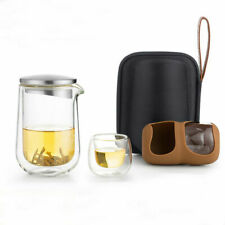 SAMA L005 Double Wall Clear Glass Teapot & Two Teacups Travel Tea Set In Case