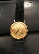 Vtg Disney Lorus Mickey Mouse Watch,Manual Wind, Gold Face, Repair